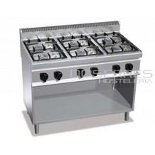 Cocina 6 fuegos + soporte Bertos