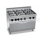 Cocina 6 fuegos con horno GN 1/1