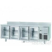 Mesa refrigerada con puertas de cristal y luz led 2500